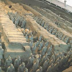The Undergroud Terra Cotta Army from Qinshihuang's Mausoleum